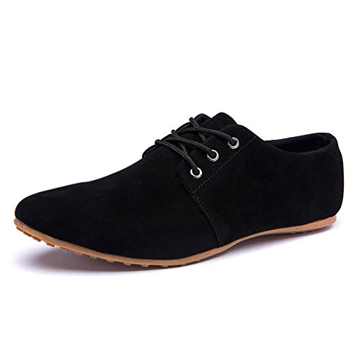 Black Leather Casual Oxfords - DEARWEN Men's Casual Suede Leather Lace up Oxford Shoes Black US 11.5