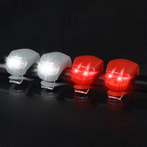 Malker Bicycle Light - Front and Rear Silicone LED Bike Light Set - 2 Taillight for Cycling Safety- Batteries Included, White and Red, 2 Piece