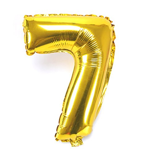 B-G 40 Inch Number 0-9 Thickening Gold Foil Digital Air-filled /Hydrogen / Helium Foil Mylar Balloons for Birthday Party Wedding Anniversary (Number 7) (Large Helium Number Balloons)