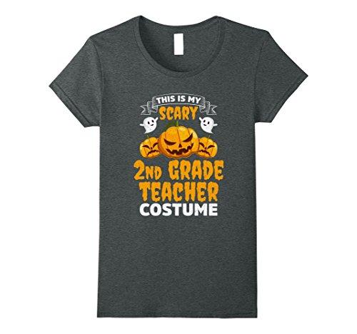 Womens Scary 2nd Grade Teacher Costume Funny Halloween Shirt Large Dark Heather - Halloween Costume 2 People