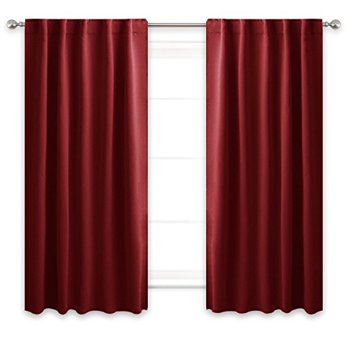 Tab Top Thermal Drapery - NICETOWN Living Room Darkening Curtain Drapes - (Burgundy Red Color) W42 x L54, Set of 2, Energy Smart & Privacy Protection Window Treatment Thermal Insulated Drapery Panels for Patio Door