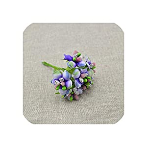 April With You 6pcs Artificial Flower Silk Stamen Bud Berry for Wedding Bridal Bouquet Candy Gift Box Decoration Scrapbooking DIY Wreaths,Purple Blue 30