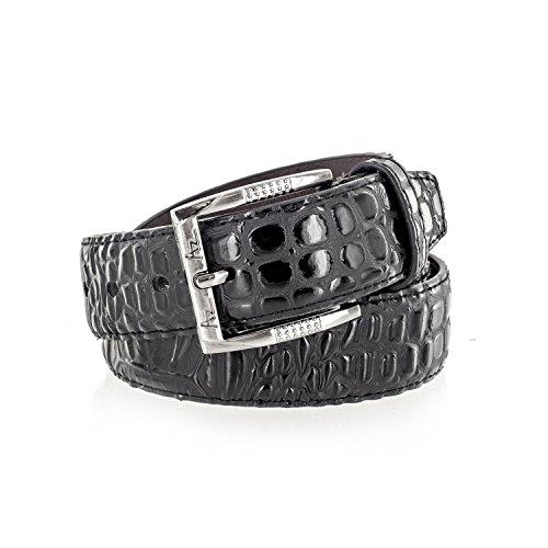 Alligator Genuine Plate - Faddism Men's Alligator Skin Textured Genuine Leather Belt With Metal Buckle - Black XL