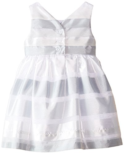 Rare Editions Baby Baby Girls' Shadow Stripe Social Dress, Gray/White, 12 Months