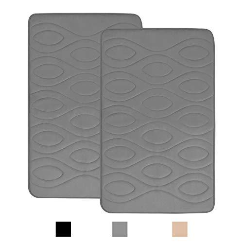 Memory Foam Soft Bath Mats 2 Pack Set 20×31 inch,KIMODE Anti-Fatigue Non Slip Water Absorbent Bathroom Rugs Cushion Thick Bath Floor Rug Machine Washable Durable Bottom Runner Rug for Shower Toilet