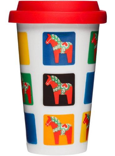 Sagaform Take Away Mug with Dala Horse Pattern, (Sweden Dala Horse)