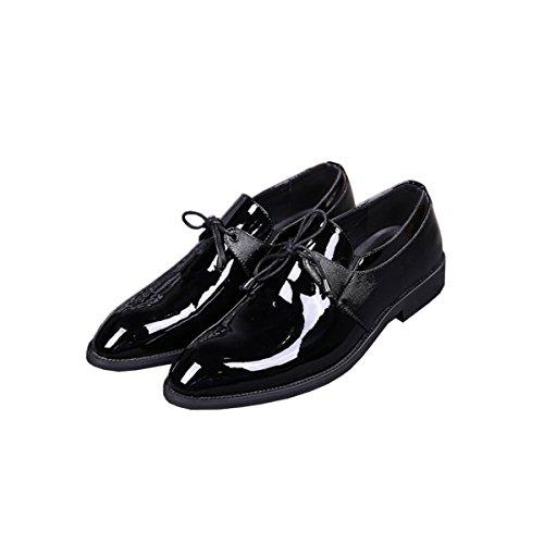 LYZGF Hommes Jeunes Affaires Mode Décontractée Pointé Laçage Chaussures En Cuir Black