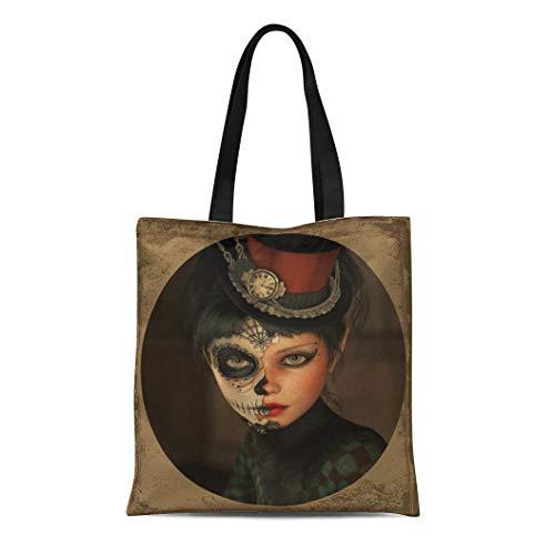 Semtomn Canvas Tote Bag Shoulder Bags Death 3D Computer Graphics of Girl Sugar Skull Makeup Women's Handle Shoulder Tote Shopper Handbag]()