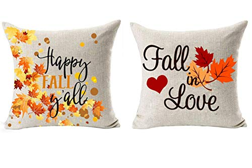 Foozoup 2 Piece Fall Quotes Throw Pillow Case Pumpkin Maple Leaf Cushion Cover Cotton Linen 18 x 18 (Fall in Love & Happy Fall Yall)