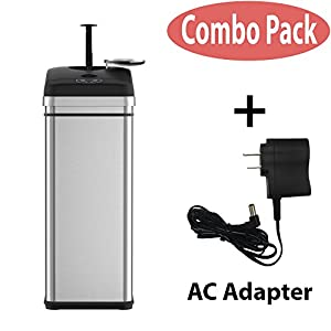 iTouchless Squeeze Trash Compactor with Touchless Lid and AC Adapter – Compact Waste, Save Space – Stainless Steel – 49 Liter/13 Gallon
