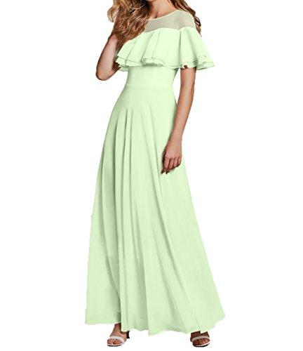 Charmant Chiffon Tanzenkleider Elegant Partykleider Brautmutterkleider Salbei Damen Lang Promkleider Abendkleider TBnATSwq