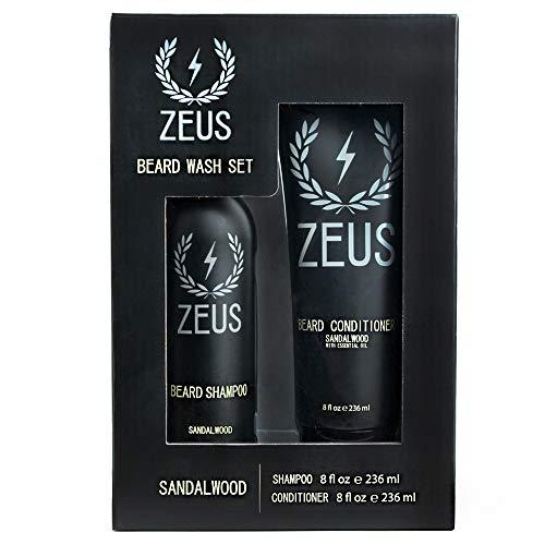 ZEUS Beard Shampoo and Beard Conditioner Set for Men - (8 oz. Bottles) (Scent: Sandalwood)