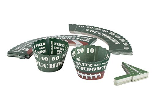 50 Ball Marker Display - Football Cupcake Toppers and Liners - 50-Pack Sports-Themed Mini Cake Wrappers Muffin Decoration, Kids Birthday Party Supplies and Favors, Green