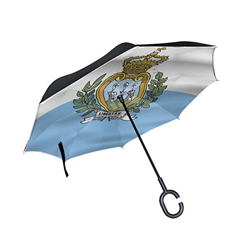 (super3Dprinted San Marino Flag Inverted Double Layer Umbrella Waterproof Auto Open Reverse Folding Upside Down Car Umbrellas with C Shape Handle)