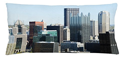 Lunarable USA Throw Pillow Cushion Cover, American Architecture Pittsburgh PA Skyline Pennsylvania Modern Cityscape, Decorative Accent Pillow Case, 36 X 16 Inches, Grey Silver Pale Blue