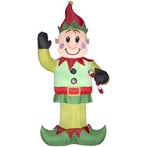 Gemmy Airblown Inflatable Elf Waving His Right Hand While Holding A Candy Cane In His Left Hand - Indoor Outdoor Decoration, 7-foot Tall by Airblown Inflatables (Image #1)