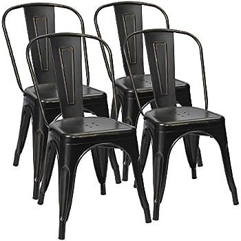 Amazon Com Furmax Metal Chairs Distressed Style Black