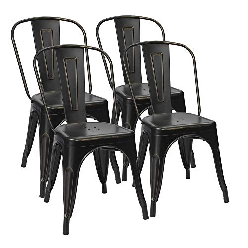 (Furmax Metal Chairs Distressed Style Black Indoor/Outdoor Use Stackable Chic Dining Bistro Cafe Side Chairs Set of 4 (Distressed)
