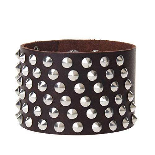 (joymiao Genuine Leather Bracelet for Men Punk Spike Studded Rivet Cuff Strap Braided Biker Bangle Wristband for Women Men Black Brown Adjustable)