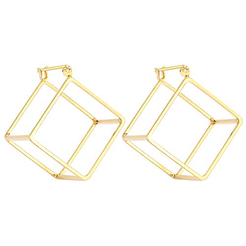 Rugewelry Geometric 3D Cube Square Triangle Earrings 18k Gold Plated Stud Earrings For Women,Girls' -