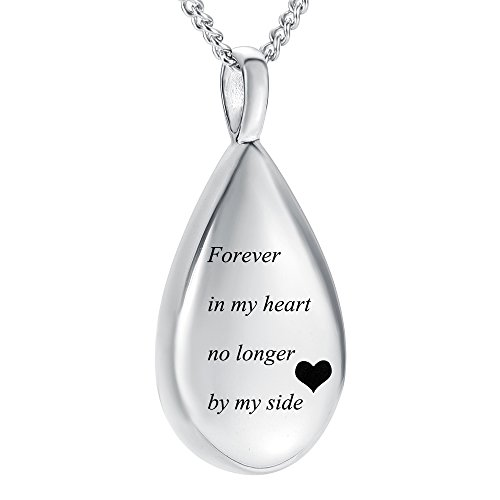 - Carved Teardrop Keepsake Ashes Necklace Urn Pendant Cremation Memorial Jewelry(Forever in My Heart)