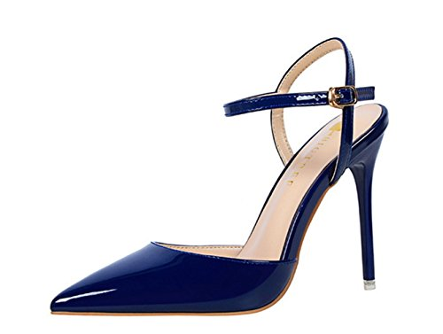Muchis Fashion New Womens Puntschoen Stilettos Trouwschoenen Enkel Strappes Hoge Hakken Sandalen Dames Feestschoenen Blauw Us 7