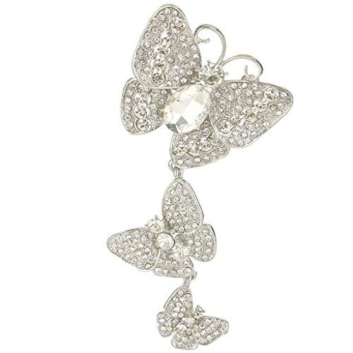 EVER FAITH Women's Austrian Crystal 3 Butterflies Insect 4.8 Inch Pendant Brooch Clear Silver-Tone