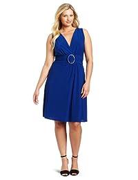 Star Vixen Women's Plus-Size Sleeveless O-Ring A-Line Dress