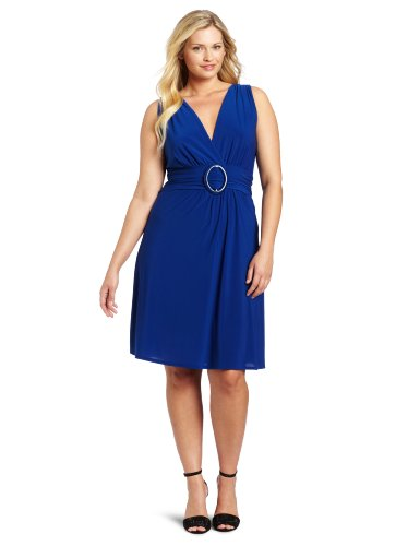 Star Vixen Women's Plus-Size Sleeveless O-Ring A-Line Dress, Royal Solid, 1X ()