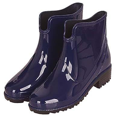 CCZZ Women's Ankle Rubber Wellington Boots Anti Slip Rain Shoes Bow Ankle Wellies Rain Snow Boots