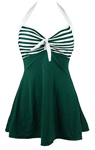 Cocoship Dark Sea Green & White Striped Vintage Sailor Pin Up Swimsuit One Piece Skirtini Cover Up Beachwear XXL(FBA)