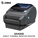 Zebra - GX420d Direct Thermal Desktop Printer for Labels, Receipts, Barcodes, Tags, and Wrist Bands - Print Width of 4 in - USB, Serial, and Parallel Port Connectivity (Includes Cutter)