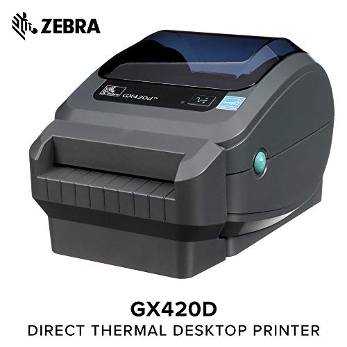 (Zebra - GX420d Direct Thermal Desktop Printer for Labels, Receipts, Barcodes, Tags, and Wrist Bands - Print Width of 4 in - USB, Serial, and Parallel Port Connectivity (Includes)
