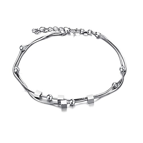 Mmiiss Multi Layer Chain Anklets with Small Beads 925 Sterling Silver Fashion Anklets for Woman (style6) by Mmiiss