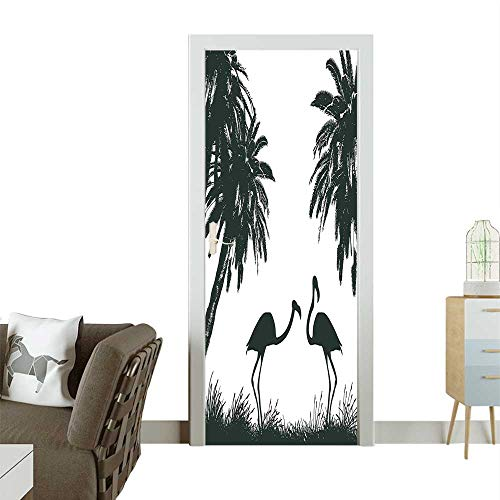 Door Sticker Wall Decals and Palm TRE in Miami Tropical Work Baby Blue Baby Pink and Black Easy to Peel and StickW32 x H80 INCH]()