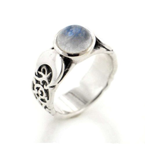 Sterling Silver Lunar Moon Phases and Rainbow Moonstone Ring Size 6(Sizes ()