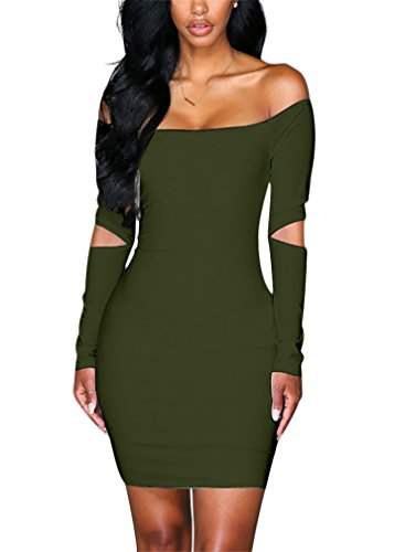 Mojessy Womens Sexy Off Shoulder Long Sleeve Hollow Out Bodycon Mini Dress Army Green M