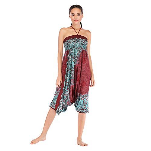 Harem Pants Women's Hippie Bohemian Yoga Pants One Size Aladdin Harem Hippie Pants Jumpsuit Smocked Waist 2 in 1 (Free, Wine) by BingYELH Yoga (Image #3)