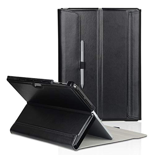 FIREDOG for Surface Pro 6 Case, Leather for Microsoft 12.3 Surface Pro 6 / Pro 2017(Pro 5) / Pro LTE/Pro 4 Tablet Cover Stand with Type Cover Keyboard (Black) (Surface Pro 4 Cover Keyboard Not Working)