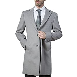 Adam Baker Men's Modern Fit Single Breasted Luxury Cashmere-Feel 3/4 Length Topcoat