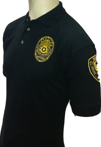 Security Polo Shirt 100% Cotton Pre-shrunk Deluxe Black with Gold Letters