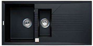 Elleci Tekno 475 Vitrotek 3G Black Waschbecken Spüle Granit Einbau ... | {Waschbecken küche granit 37}