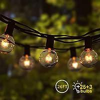 Cadena de Luz G40 8M Guirnaldas Luminosas de Exterior con 25 Bombillas Perfecto para Jardín Patio Trasero Fiesta Navidad Interior Exterior (3 Bombilla de Repuesto)[Clase de eficiencia energética E]