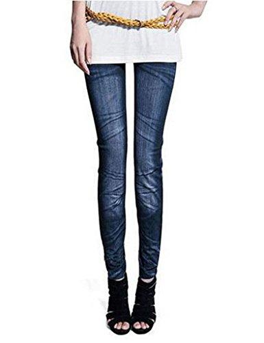 Jeans Rtro Femme Collants Bleu Bestgift clair Denim Pantalons w7tvnq6