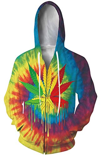 ave Hoodies Cool Graphic Hip Hop Clothing Zip-up Jackets Coat Weed Casual Hoodie with Pouch Pockets Size XL ()
