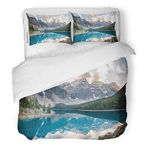 Semtomn Decor Duvet Cover Set Twin Size Blue Rockies Moraine Lake Banff National Park Alberta Canada 3 Piece Brushed Microfiber Fabric Print Bedding Set Cover -