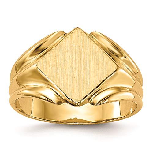 14K Yellow Gold 8.7 MM Diamond Shape Engravable Signet Ring, Size 6 Diamond Shape Signet Ring