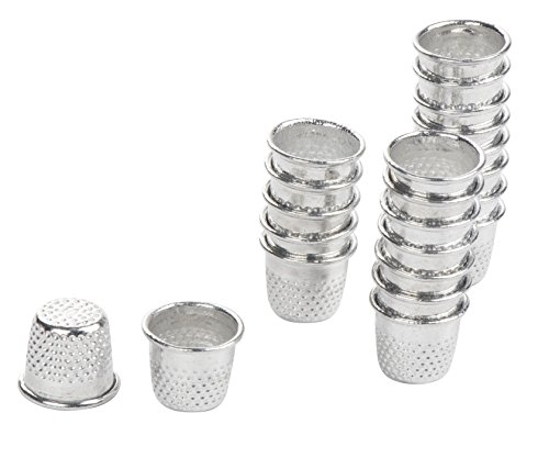Sewing Thimbles - 100-Pack Metal Finger Protectors, Vintage Pin Needle Shields for DIY Craft, Accessories Making, Quilting, Needlework, Silver