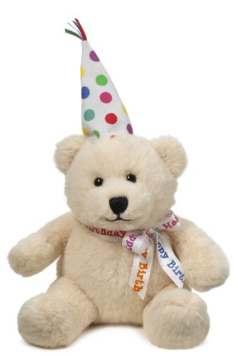Cream Colored Ganz Soft Spots Happy Birthday Bear - Birthday Bear Plush With Sound (Plays Happy Birthday) Ganz Soft Bear