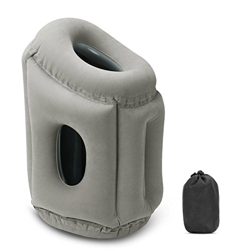 Nozama Inflatable Travel Pillow, Head Neck Rest Pillow, Fast Inflate/Deflate Portable Travel Pillow with Fully Support Carry Pouch, Perfect for Airplane Train Traveling Office Napping Camping